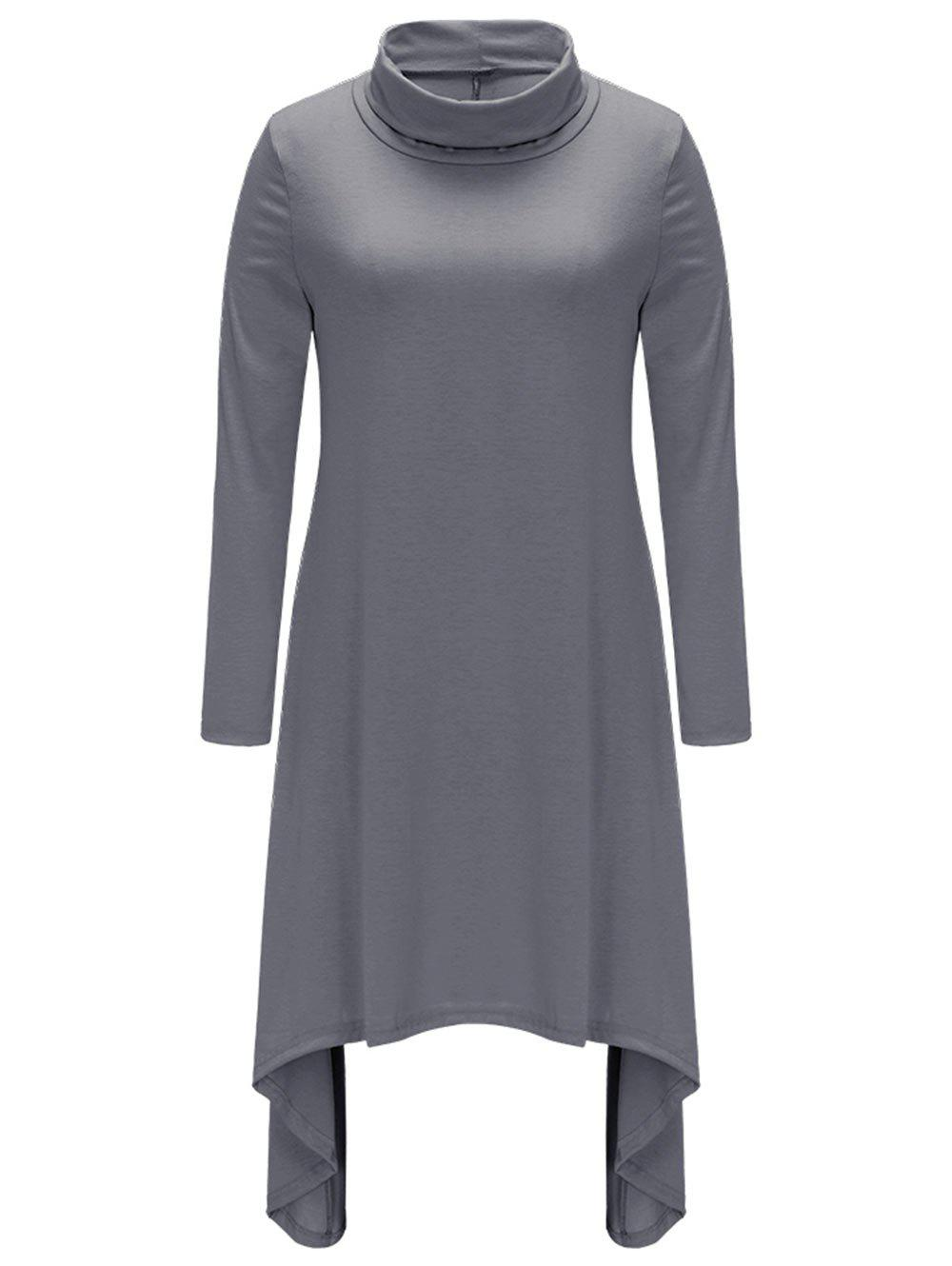 Shops Turtle Neck Asymmetric Casual Dress