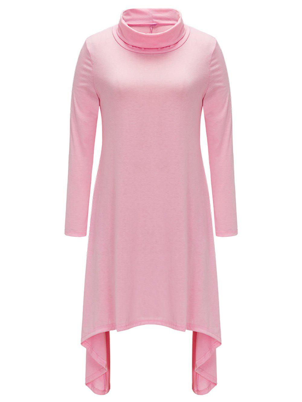 Fashion Turtle Neck Asymmetric Casual Dress