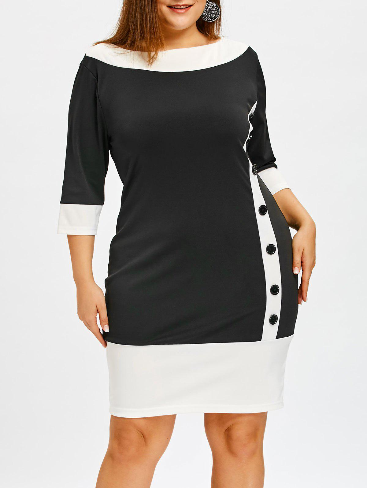 Fancy Color Block Plus Size Bodycon Dress