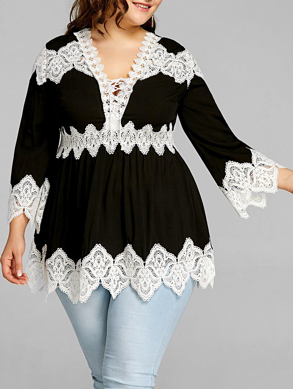 Store Lace Panel Plus Size Long Sleeve Peplum Blouse