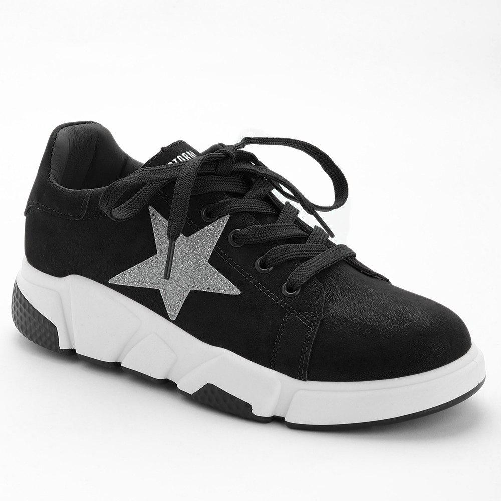 Cheap Casual Star Patched Faux Suede Sneakers