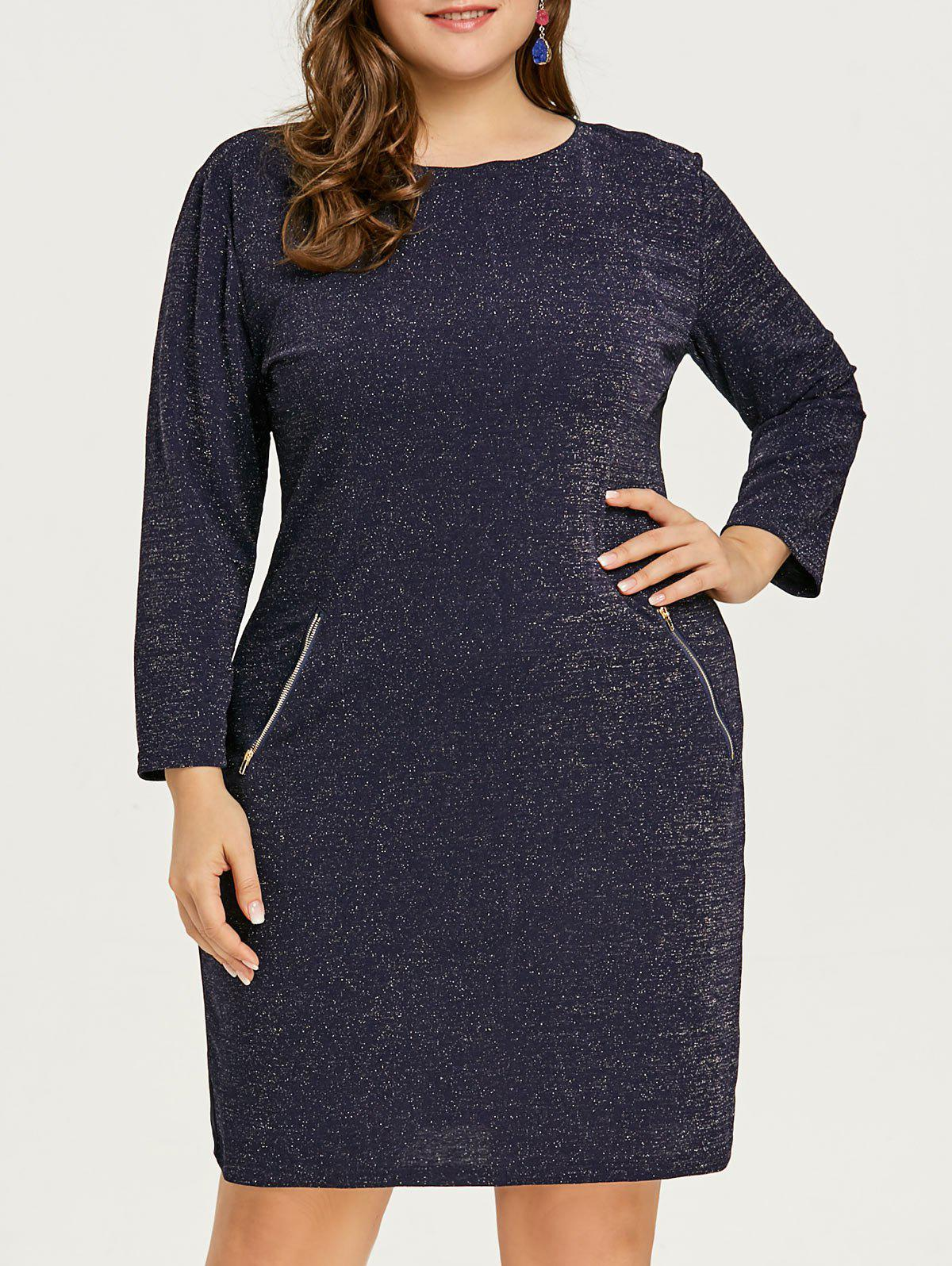 Trendy Glitter Plus Size Zipper Pockets Dress