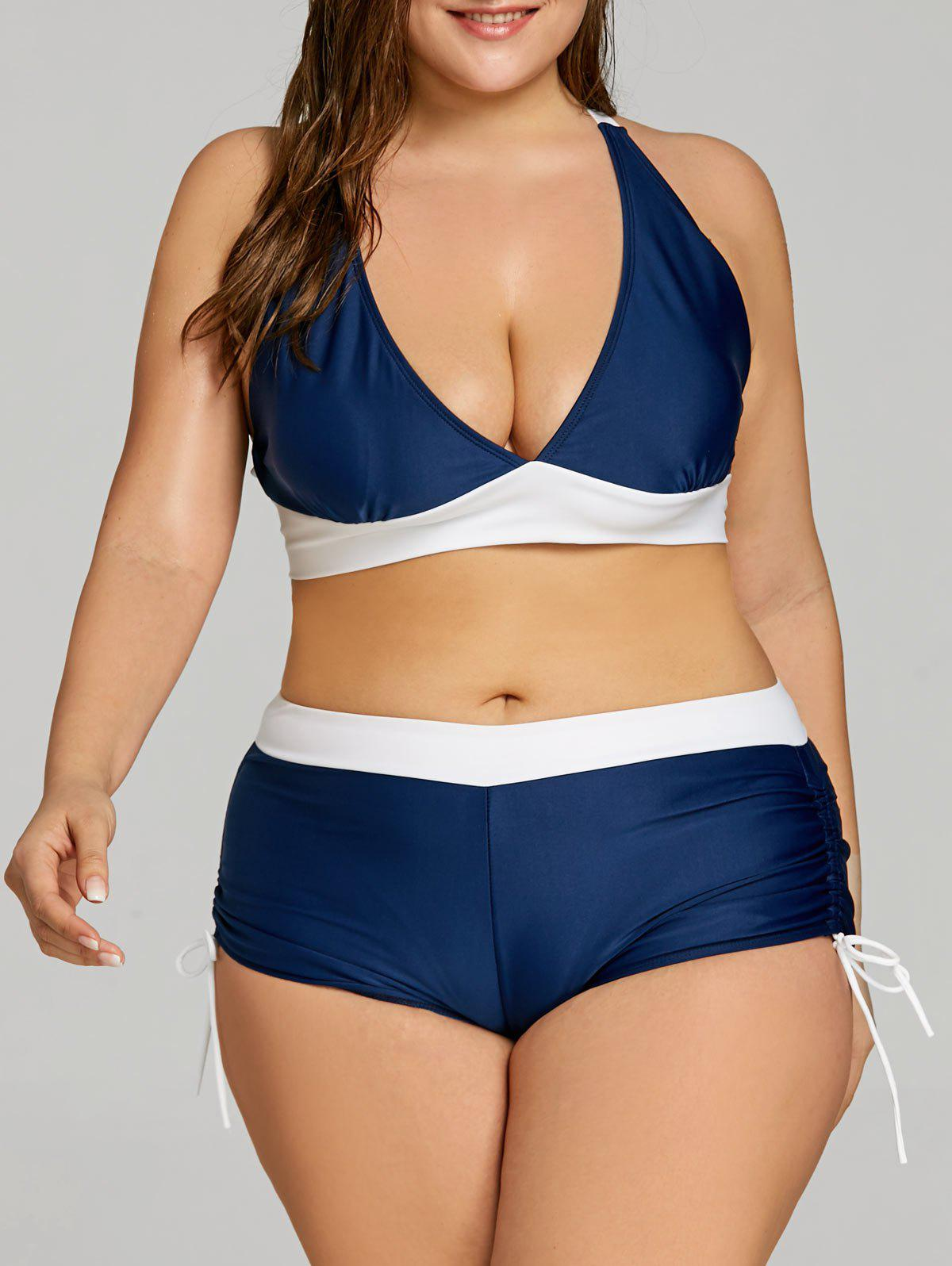 Best Criss Cross Plus Size Boyshort Bikini Set