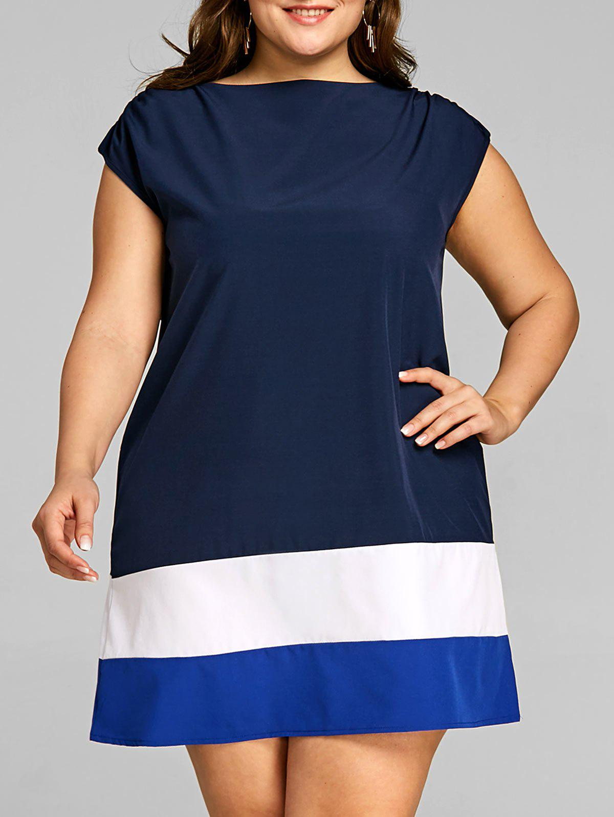 Buy Plus Size Color Block Cap Sleeve Dress