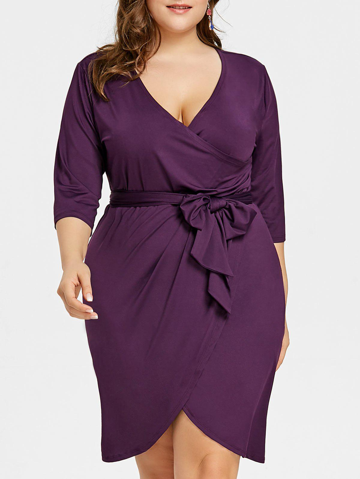 Unique Plus Size Tulip Surplice Belted Dress