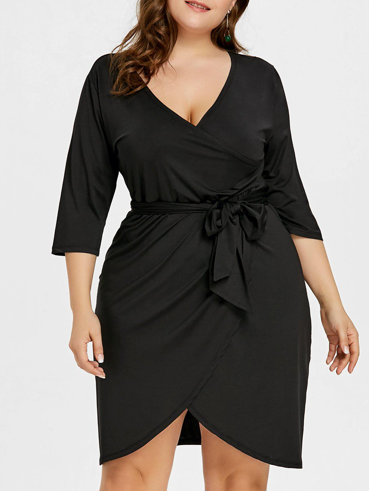 Outfit Plus Size Tulip Surplice Belted Dress
