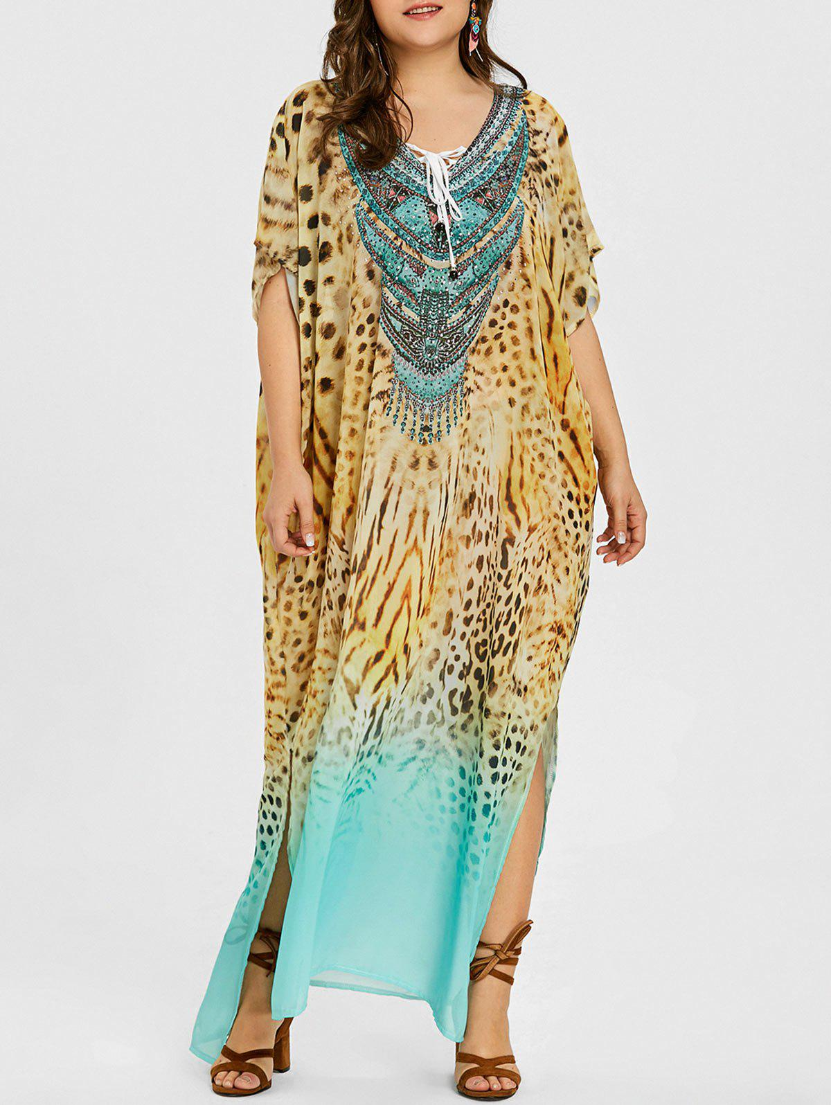 Shops Plus Size Lace Up Leopard Kaftan Dress