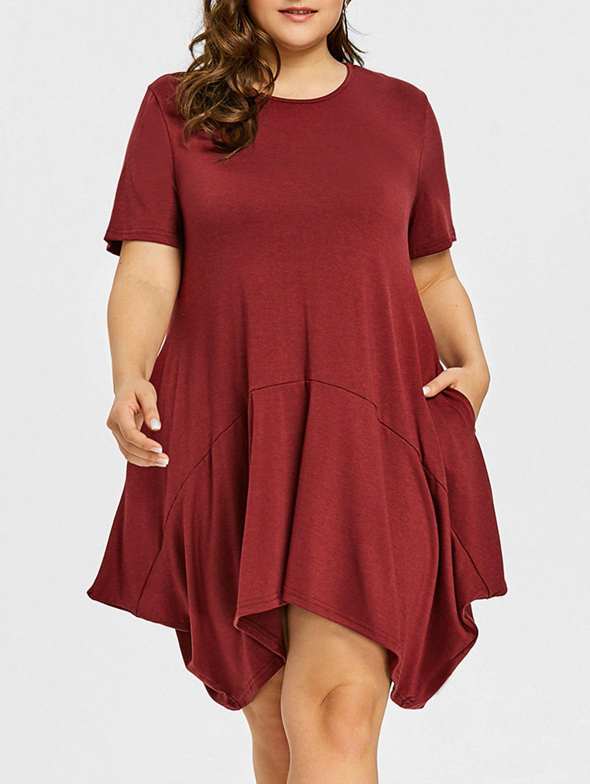 Fashion Plus Size T-shirt Swing Dress with Pocket