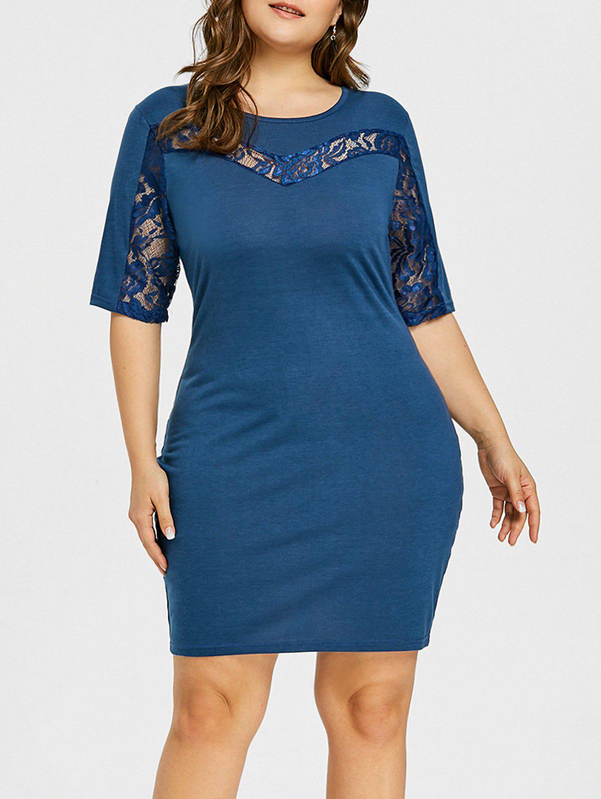 Store Plus Size Lace Insert Open Back Bodycon Dress