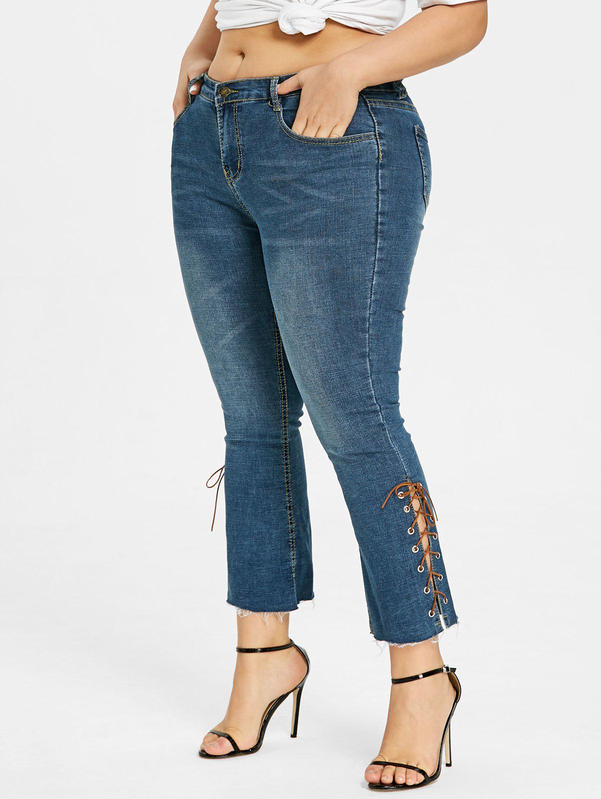 Trendy Plus Size Bootcut Side Lace Up Jeans