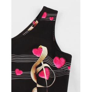 Plus Size Heart Music Note Print Vintage Dress -