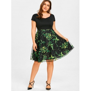 Floral Branch Print Plus Size Flare Dress -