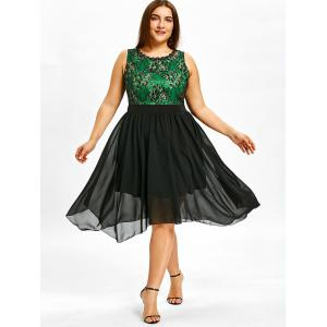 Lace Panel Plus Size Sleeveless Asymmetrical Dress -