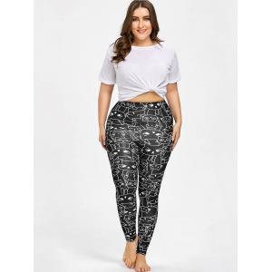 Cat Print Plus Size Workout Leggings -
