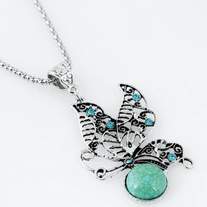 Faux Turquoise Butterfly Necklace with Earrings -