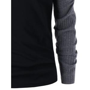 Grommet Insert Ribbed Knit Panel Long Sleeve T-shirt -