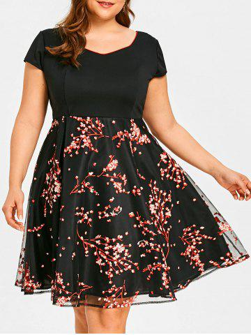 Outfits Floral Branch Print Plus Size Flare Dress