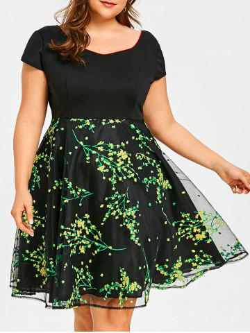 Fancy Floral Branch Print Plus Size Flare Dress
