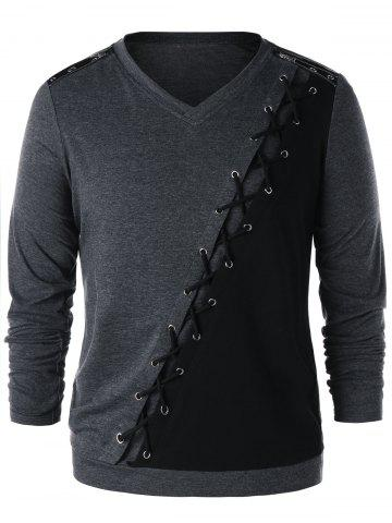 Criss Cross Zipper T-shirt à manches longues