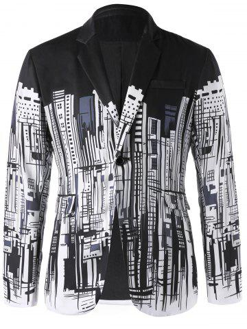 Unique Doodle Buildings Print Single Button Blazer