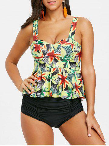 Latest Tropical Flower Moulded Peplum Tankini