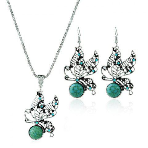 Hot Faux Turquoise Butterfly Necklace with Earrings