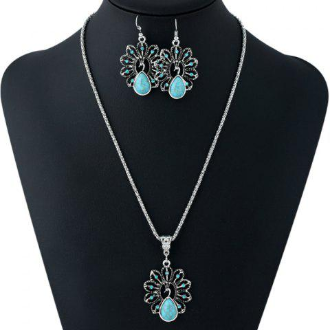 Chic Ethnic Style Faux Crystal Decorated Necklace and Earrings
