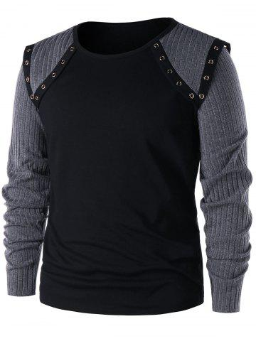 Hot Grommet Insert Ribbed Knit Panel Long Sleeve T-shirt