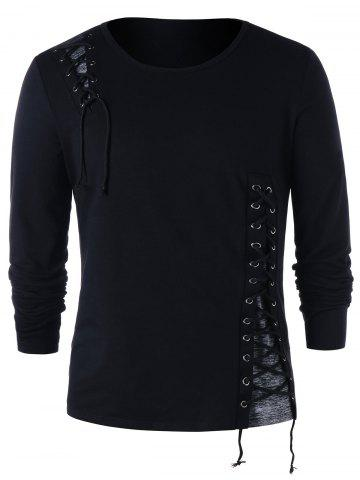 Shops Lace Up Long Sleeve T-shirt