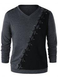 Criss Cross Zipper T-shirt à manches longues -