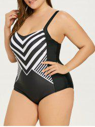 Monochrome Striped Plus Size Vintage Full Piece Swimsuit -