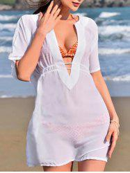 Plunging Neck Elasticated Waist Cover Up -