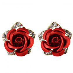 Rhinestone Flower Stud Tiny Earrings -
