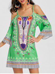 Spaghetti Strap Print Cold Shoulder Dress -