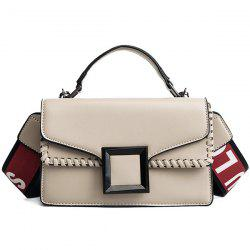 Square Buckled Whipstitch Crossbody Bag -