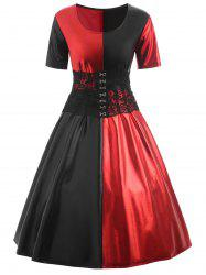 Plus Size Two Tone Lace Corset Vintage Dress -
