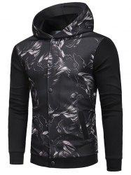 Button Up Print Hooded Jacket with Ribbing -