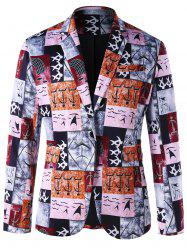 Ancient Words Print Single Button Blazer -