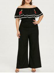 Plus Size Flounce Off Shoulder Jumpsuit -