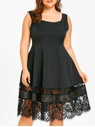 Lace Trim Plus Size Sleeveless Flare Dress -