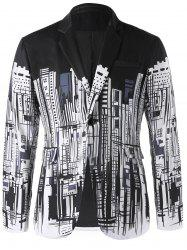 Doodle Buildings Print Single Button Blazer -