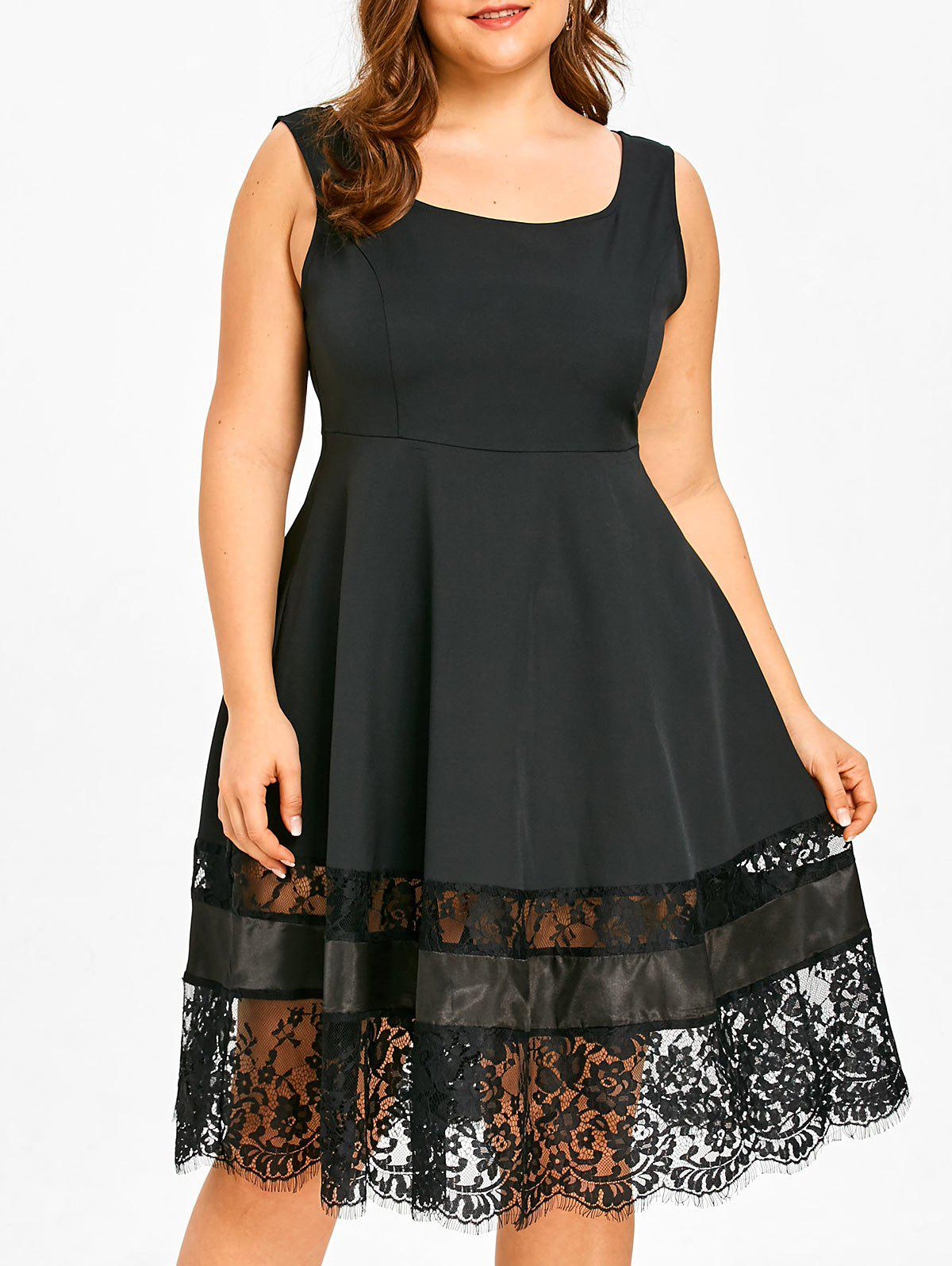 Hot Lace Trim Plus Size Sleeveless Flare Dress