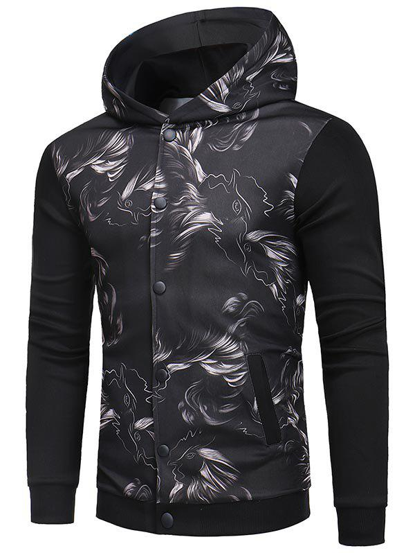 Online Button Up Print Hooded Jacket with Ribbing