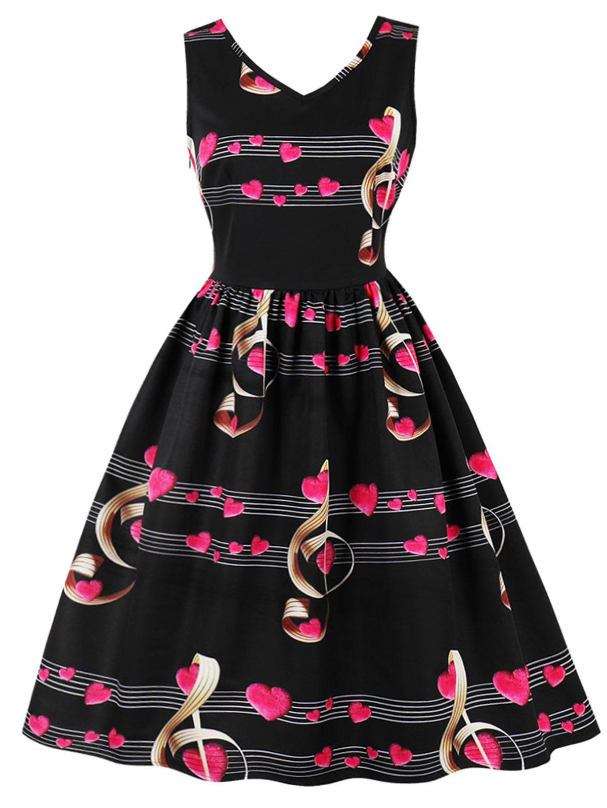New Plus Size Heart Music Note Print Vintage Dress