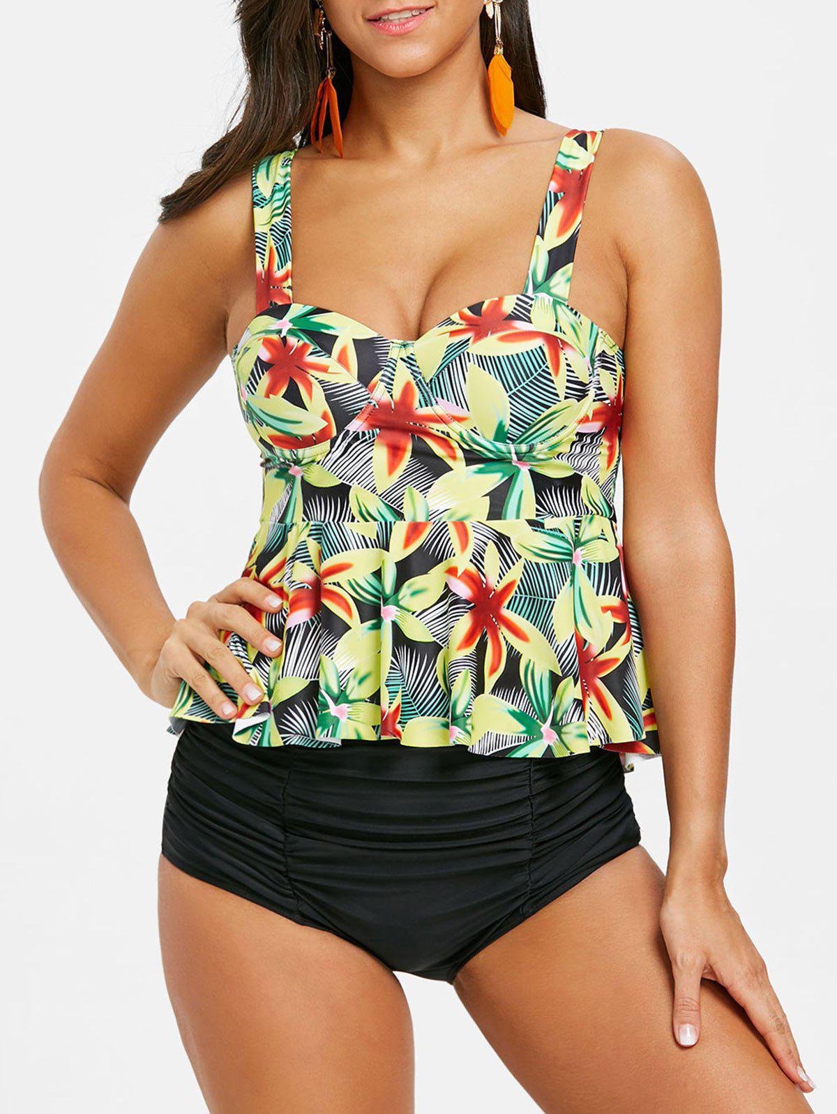 Outfit Tropical Flower Moulded Peplum Tankini