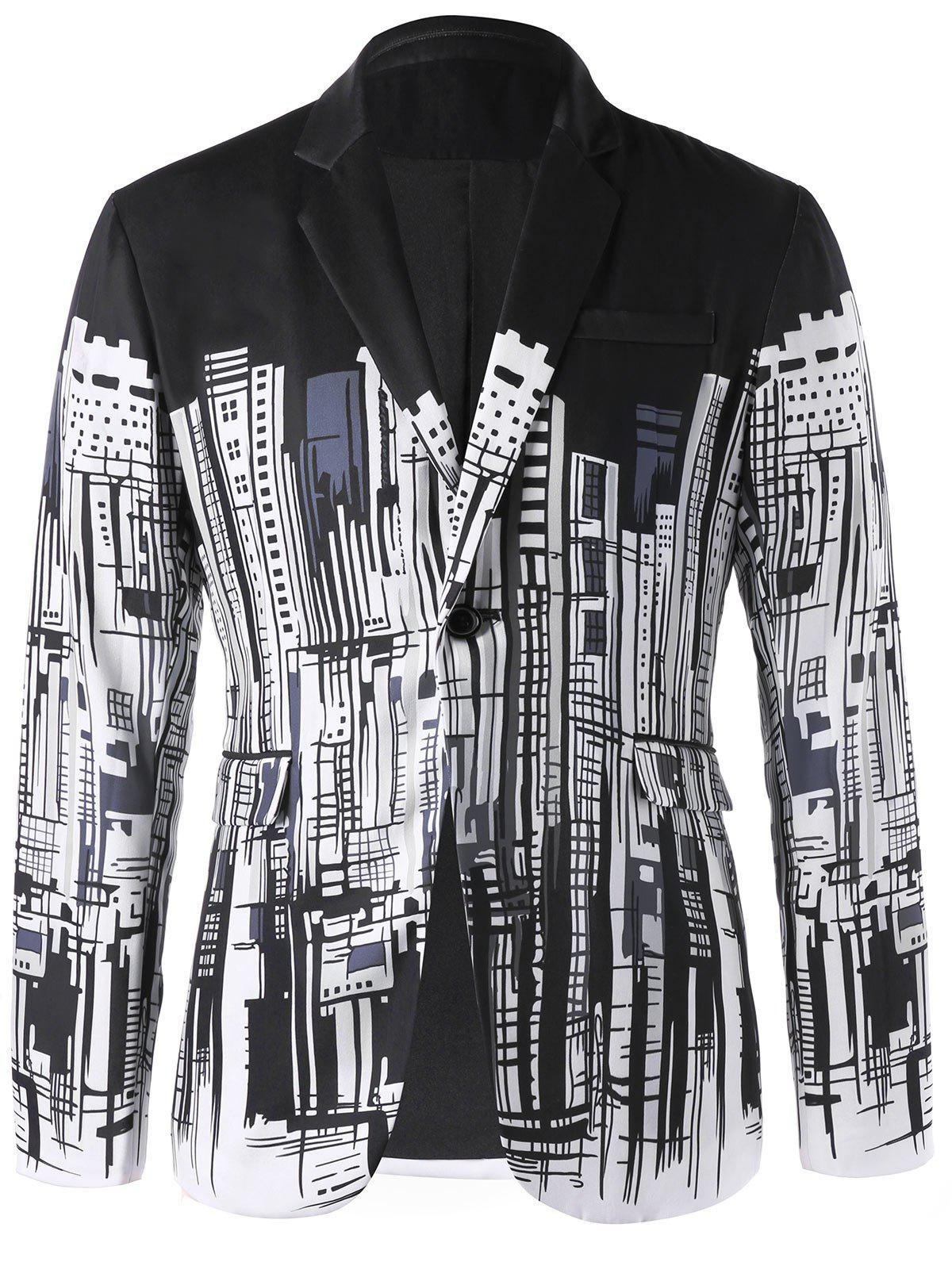 Fashion Doodle Buildings Print Single Button Blazer