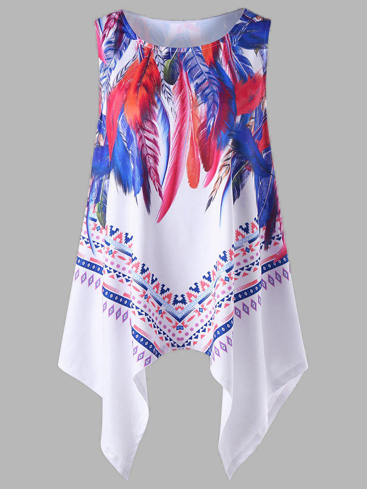 Affordable Plus Size Feather Printed Handkerchief Tank Top