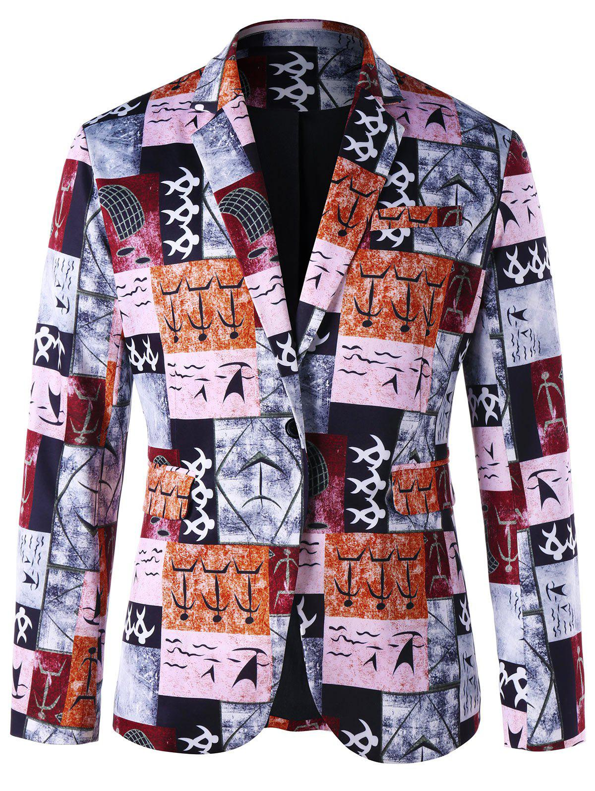 Sale Ancient Words Print Single Button Blazer