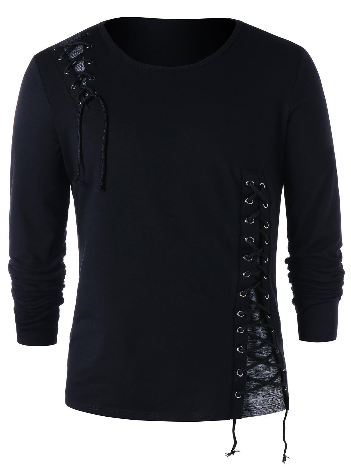 Unique Lace Up Long Sleeve T-shirt