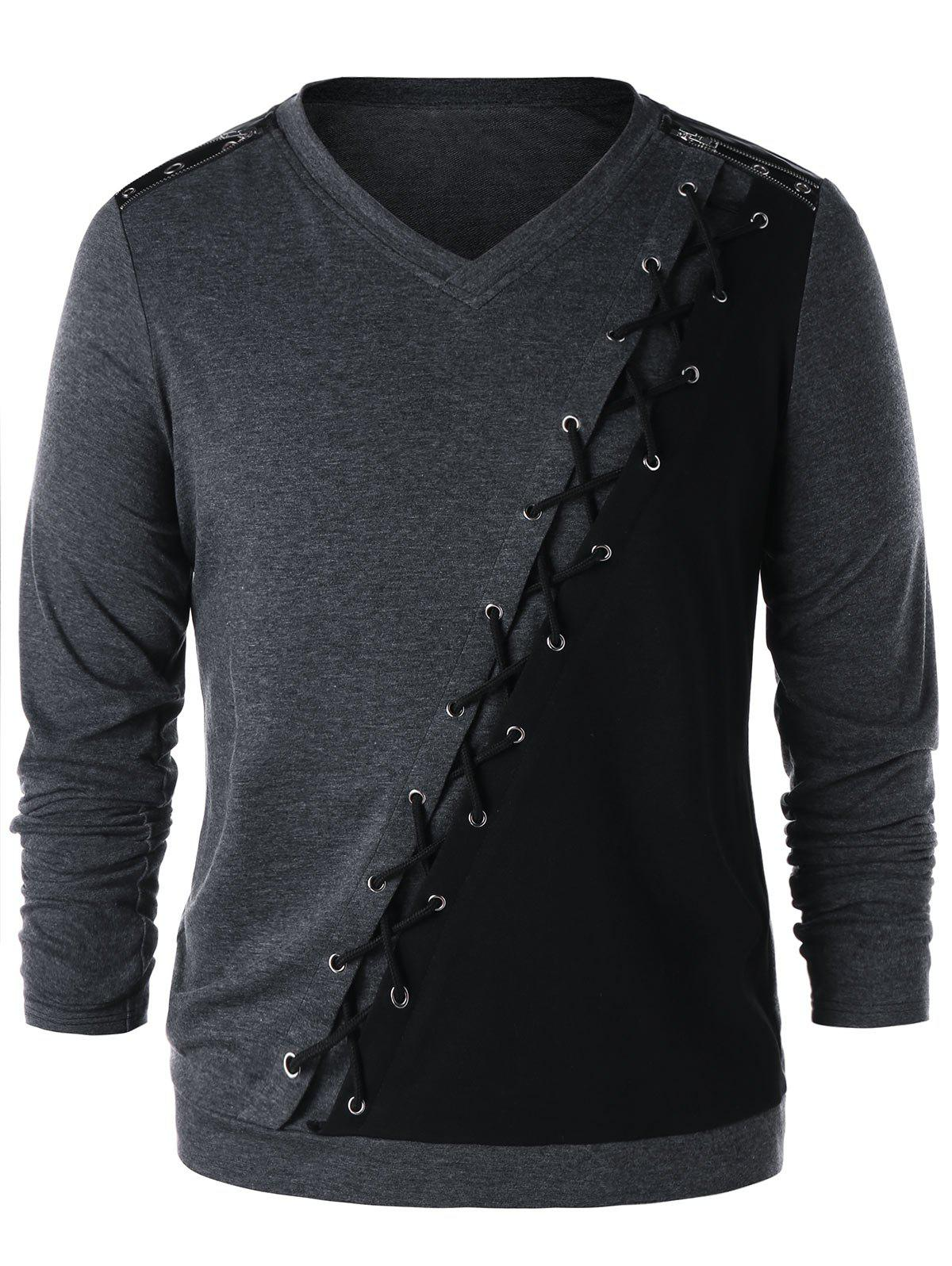 Online Criss Cross Zipper Shoulder Long Sleeve T-shirt